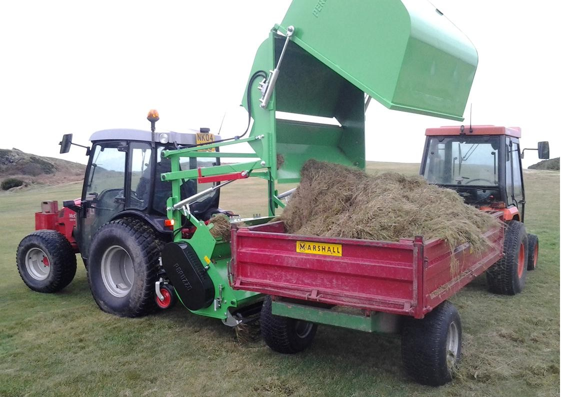 Ryetec P1600CHE flail collector high lift tip directly in to trailer