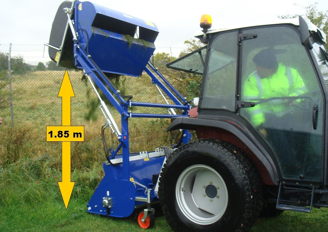 Ryetec Mini flail collector with high lift hopper