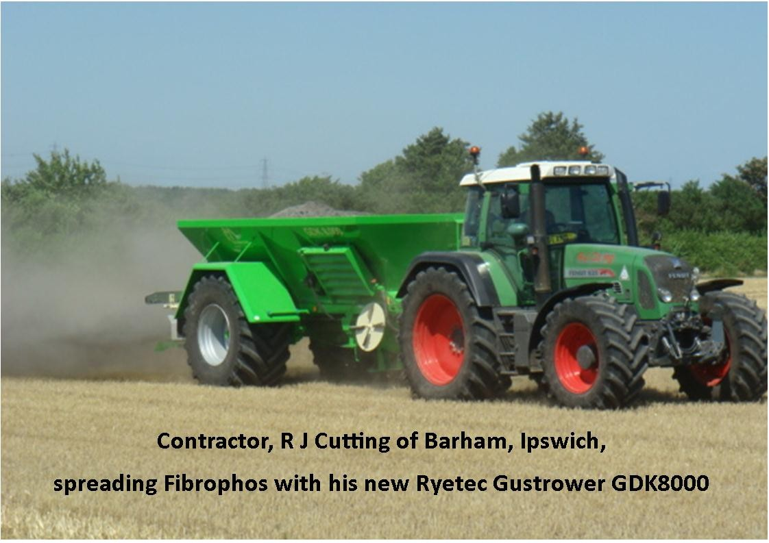 Ryetec Gustrower GDK8000 lime spreader, spreading fibrophos with contactor R J Cutting Ipswich