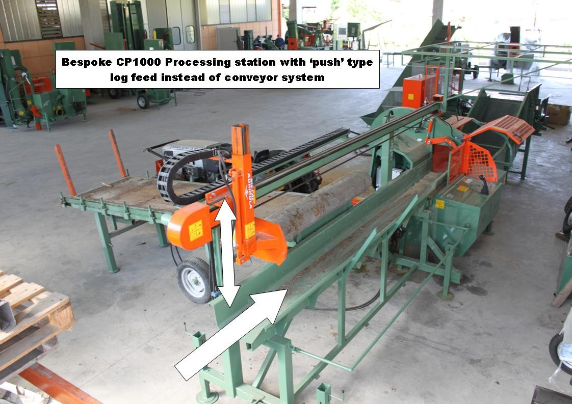 Ryetec CP1000 bespoke firewood log processing station