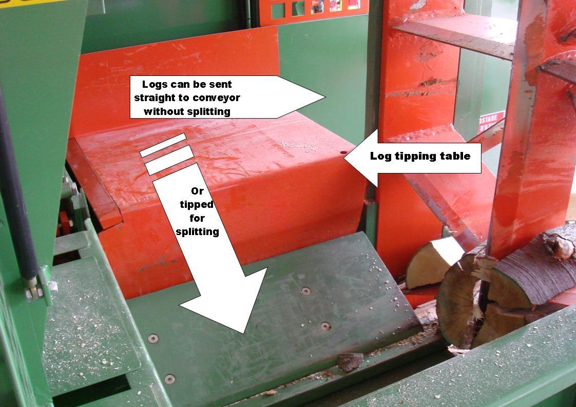 Ryetec CP1000 firewood log processor log tipping table