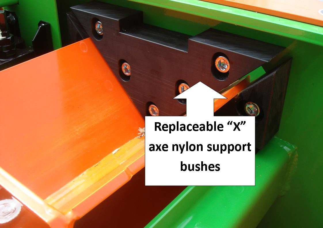 KLG 250 kindling machine replaceable axe support bushes