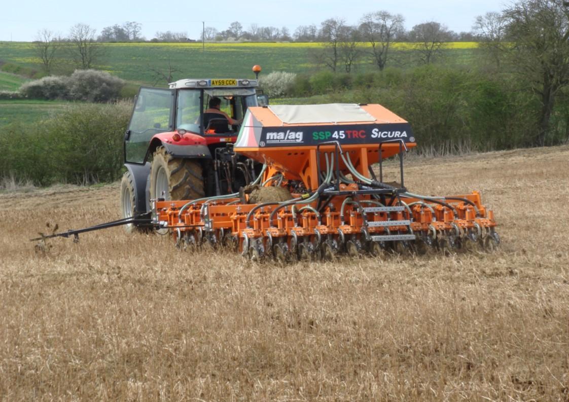 MAAG Direct Min till 4 metre no till grain drill on cover crop